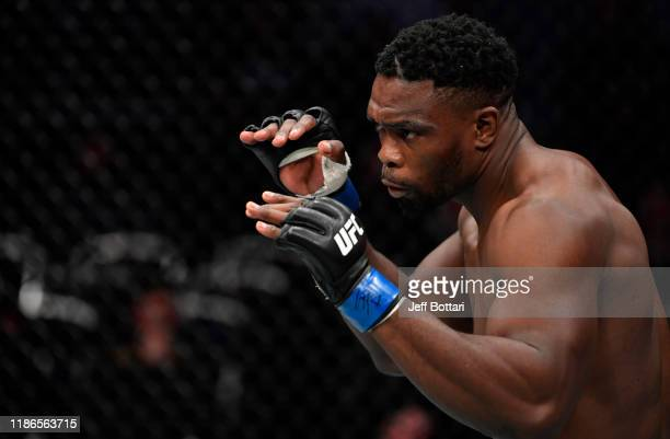 Dalcha Lungiambula of South Africa battles Magomed Ankalaev in their light heavyweight bout during the UFC Fight Night event at CSKA Arena on...