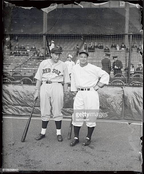 Dale Alexander of the Boston Red Sox leading hitter in the American League last year and Lou Gehrig slugger of the New York Yankees compare notes...