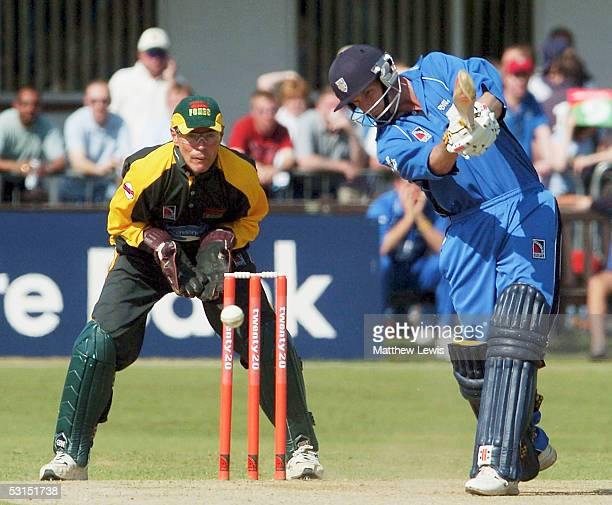Dale Benkenstein of Durham in action, as Paul Nixon of Leicestershire looks on during the Twenty20 match between Leicestershire and Durham at Grace...