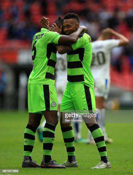 Dale Bennett and Keanu MarshBrown of Forest Green celebrate following the Vanarama National League Play Off Final between Tranmere and Forest Green...