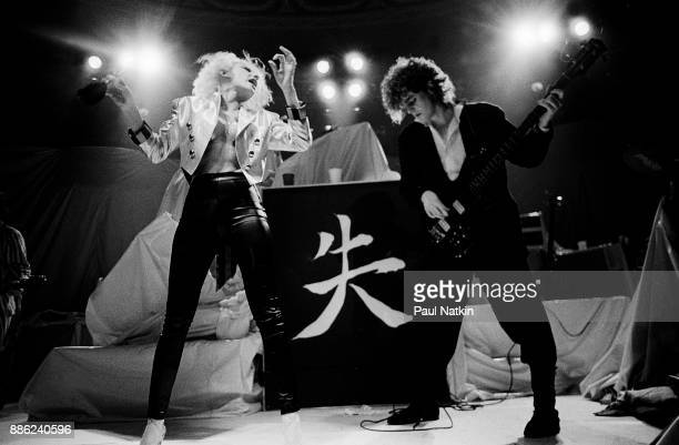 Dale Bozzio left of Missing Persons performs in Milwaukee Wisconsin March 15 1983 Band member on right is unidentified