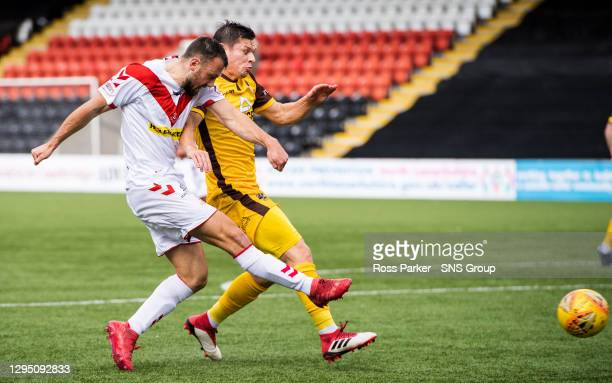 Dale Carrick misses a great chance for Airdrieonians.