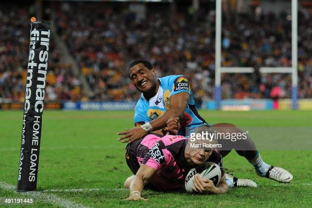 Dale Copley of the Broncos scores a try during the round 10 NRL match between the Brisbane Broncos and the Gold Coast Titans at Suncorp Stadium on...