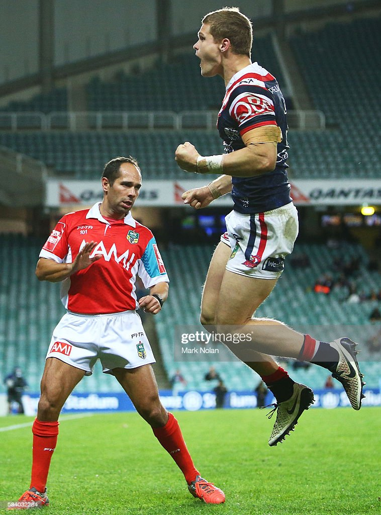 Dale Copley of the Roosters celebrates scoring his second try during the round 21 NRL match between the Sydney Roosters and the Brisbane Broncos at Allianz Stadium on July 28, 2016 in Sydney, Australia.