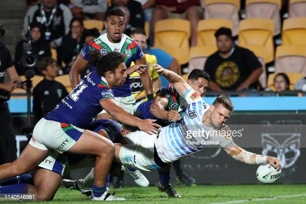 Dale Copley of the Titans scores a try during the round 4 NRL match between the Warriors and the Titans at Mt Smart Stadium on April 05 2019 in...