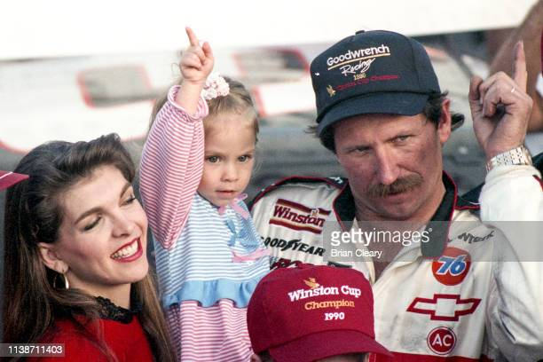 Dale Earnhardt celebrates his 4th NASCAR Winston Cup Championship with wife Teresa Earnhardt and daughter Taylor Earnhardt after the Atlanta Journal...