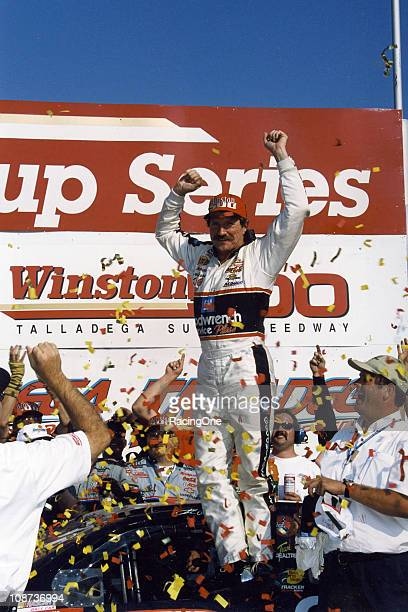 Dale Earnhardt celebrates his win in the Winston 500 NASCAR Cup race at Talladega Superspeedway It would be the final Cup win of his career