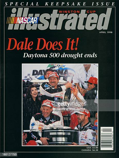 Dale Earnhardt celebrates in victory lane after winning the Daytona 500 on February 15 1998 in Daytona Beach Florida