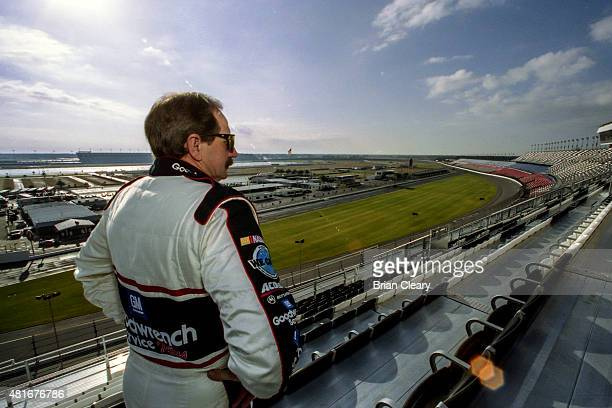 BEACH FL FEB 4 2001 Dale Earnhardt checks out the view from the newly completed Earnhardt Grandstand during winter testing two weeks before the...