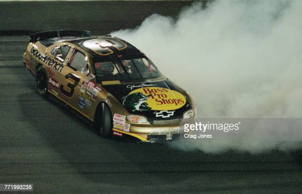 Dale Earnhardt driver of the the Richard Childress Racing Goodwrench Bass Pro Shops Chevrolet Monte Carlo spinning out of the NASCAR Winston Cup...