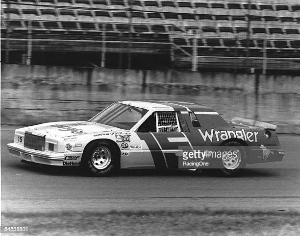 Dale Earnhardt driver of the Wrangler Ford Thunderbird hadn¿t won a race since 1980 then overcame his bad luck once joining Bud Moore in 1982