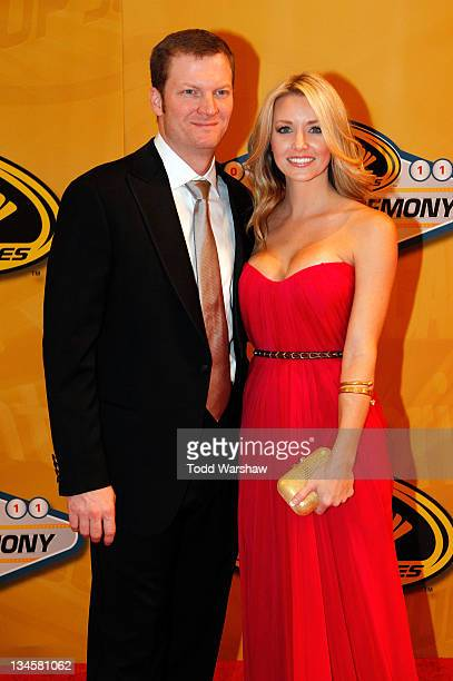 Dale Earnhardt Jr and girlfriend Amy Reimann attend the NASCAR Sprint Cup Series Champion's Week Awards Ceremony at Wynn Las Vegas on December 2 2011...
