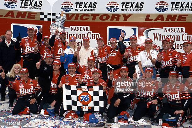 Dale Earnhardt Jr and his crew celebrate their win in the DirecTV 500 NASCAR Cup race at Texas Motor Speedway The win was the younger Earnhardt's...