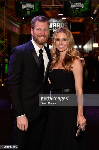 Dale Earnhardt Jr and his wife Amy attends the Monster Energy NASCAR Cup Series Awards Celebration at the Wynn Las Vegas on November 29 2018 in Las...