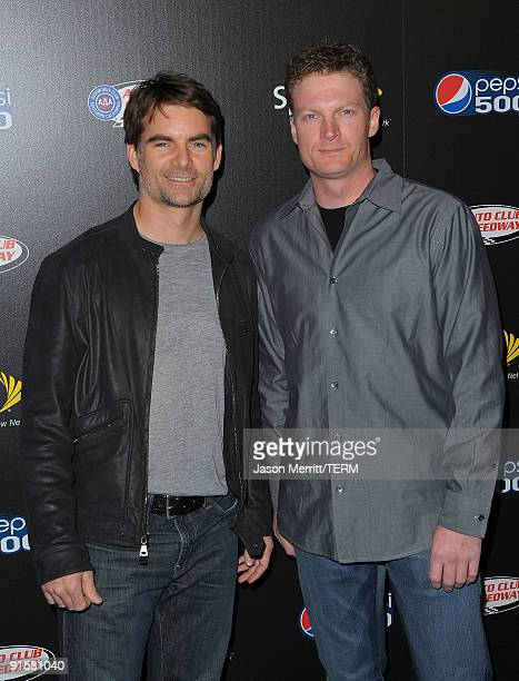 Dale Earnhardt Jr and Jeff Gordon arrive at the Auto Club Speedway's Pepsi 500 held at The Roosevelt Hotel on October 7 2009 in Hollywood California