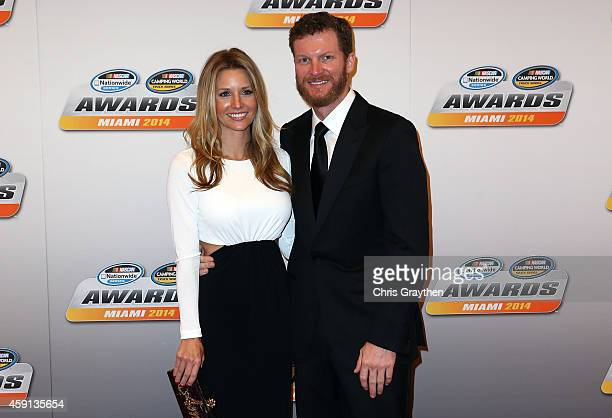 Dale Earnhardt Jr arrives with his girlfriend Amy Reimann during the NASCAR Nationwide Series and NASCAR Camping World Truck Series Banquet at Trump...