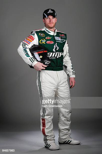 Dale Earnhardt Jr driver of the AMP Energy/National Guard Chevrolet poses during NASCAR media day at Daytona International Speedway on February 5...