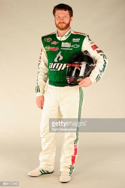 Dale Earnhardt Jr driver of the AMP Energy/National Guard Chevrolet poses during NASCAR media day at Daytona International Speedway on February 4...