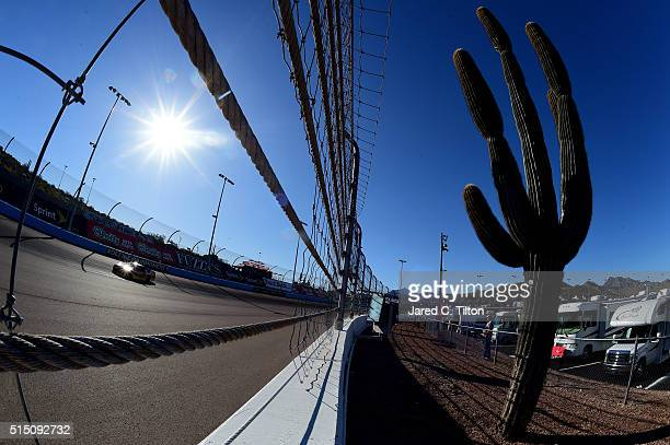 Dale Earnhardt Jr driver of the Axalta Chevrolet drives during practice for the NASCAR Sprint Cup Series Good Sam 500 at Phoenix International...