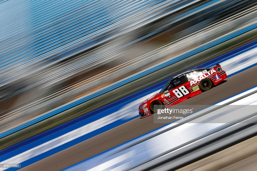 Dale Earnhardt Jr., driver of the #88 AXALTA Chevrolet, practices for the Monster Energy NASCAR Cup Series Championship Ford EcoBoost 400 at Homestead-Miami Speedway on November 18, 2017 in Homestead, Florida.