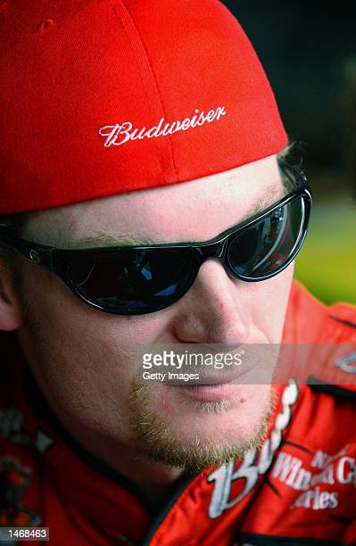 Dale Earnhardt Jr driver of the Bubweiser Chevrolet Monte Carlo during practice for the EA Sports 500 at Talladega Superspeedway on October 4 2002 in...