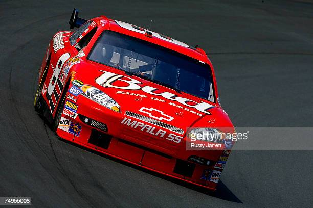 Dale Earnhardt Jr., driver of the Budweiser Chevrolet, drives during practice, for the NASCAR Nextel Cup Series Lenox Industrial Tools 300 at New...