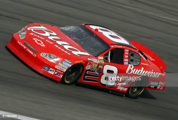 Dale Earnhardt Jr driver of the Budweiser Chevrolet during practice for the NASCAR Nextel Cup Series UAWGM Quality 500 on October 14 2004 at Lowes...