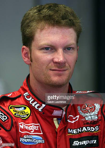 Dale Earnhardt Jr., driver of the Budweiser Chevrolet, during practice for the NASCAR Nextel Cup Series Allstate 400 at the Brickyard on August 6,...