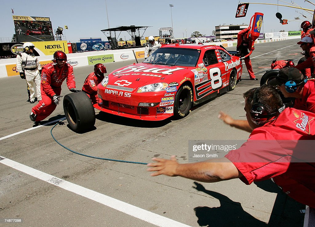 Dale Earnhardt Jr., driver of the #8 Budweiser Chevrolet, makes a pit stop, during the NASCAR Nextel Cup Series Toyota/Save Mart 350 at Infineon Raceway on June 24, 2007 in Sonoma, California.