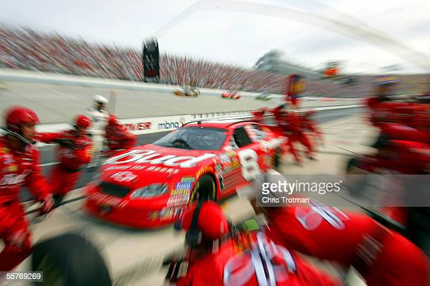 Dale Earnhardt Jr., driver of the Budweiser Chevrolet, pits during the NASCAR Nextel Cup MBNA RacePoints 400 on September 25, 2005 at the Dover...