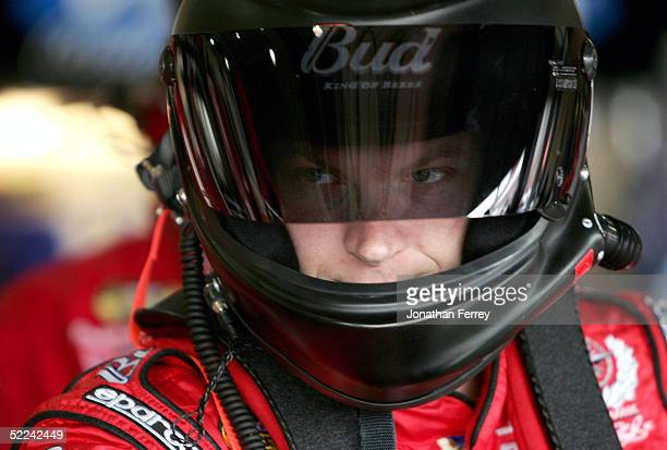 Dale Earnhardt Jr driver of the Budweiser Chevrolet practices for the NASCAR Nextel Cup Auto Club 500 on February 25 2005 at California Speedway in...