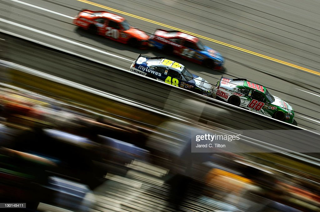 Dale Earnhardt Jr., driver of the #88 Diet Mountain Dew Chevrolet, leads a pack of cars during the NASCAR Sprint Cup Series Good Sam Club 500 at Talladega Superspeedway on October 23, 2011 in Talladega, Alabama.