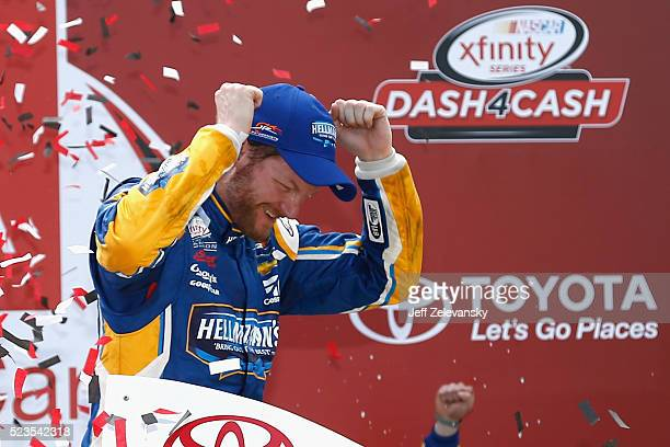 Dale Earnhardt Jr driver of the Hellmann's Chevrolet celebrates in Victory Lane after winning the NASCAR XFINITY Series ToyotaCare 250 at Richmond...