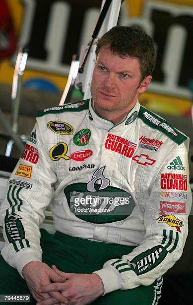 Dale Earnhardt, Jr., driver of the Mountain Dew AMP/National Guard Chevrolet, waits in the garage during NASCAR Sprint Cup testing at California...