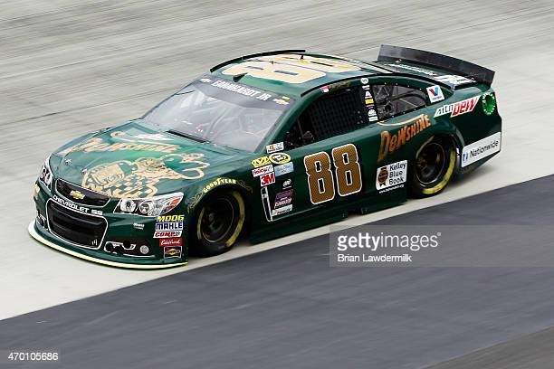 Dale Earnhardt Jr driver of the Mountain Dew Dewshine Chevrolet practices for the NASCAR Sprint Cup Series Food City 500 at Bristol Motor Speedway on...