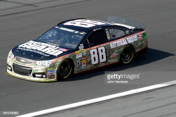 Dale Earnhardt Jr driver of the National Guard Chevrolet during practice for the NASCAR Sprint Cup Series CocaCola 600 at Charlotte Motor Speedway on...