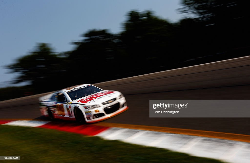 Dale Earnhardt Jr., driver of the #88 National Guard Chevrolet, practices for the NASCAR Sprint Cup Series Cheez-It 355 at Watkins Glen International on August 8, 2014 in Watkins Glen, New York.