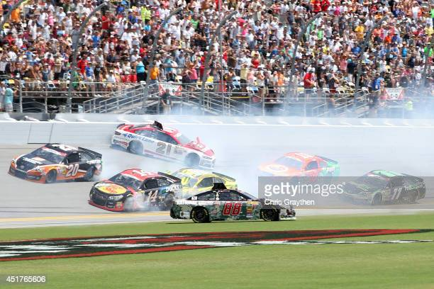 Dale Earnhardt Jr driver of the National Guard Chevrolet spins on the front stretech during the NASCAR Sprint Cup Series Coke Zero 400 at Daytona...