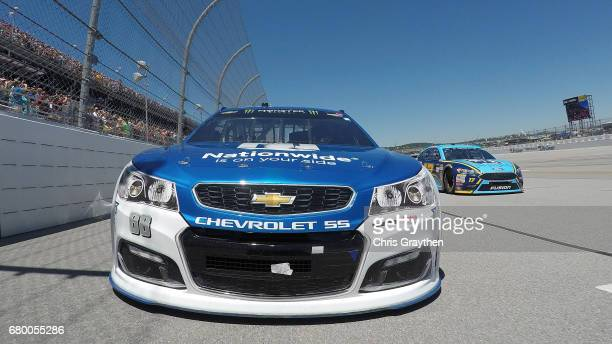 Dale Earnhardt Jr driver of the Nationwide Chevrolet and Ricky Stenhouse Jr driver of the Fifth Third Bank Ford lead the feld at the start of the...