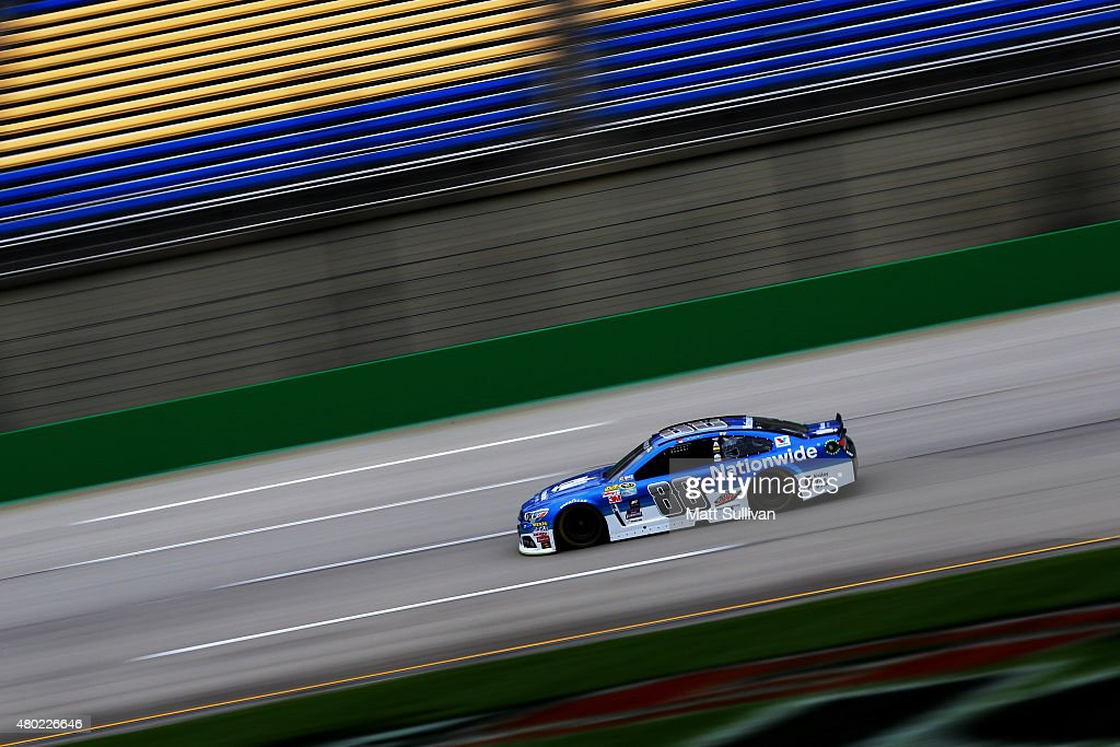 Dale Earnhardt Jr., driver of the #88 Nationwide Chevrolet, practices for the NASCAR Sprint Cup Series Quaker State 400 Presented by Advance Auto Parts at Kentucky Speedway on July 10, 2015 in Sparta, Kentucky.