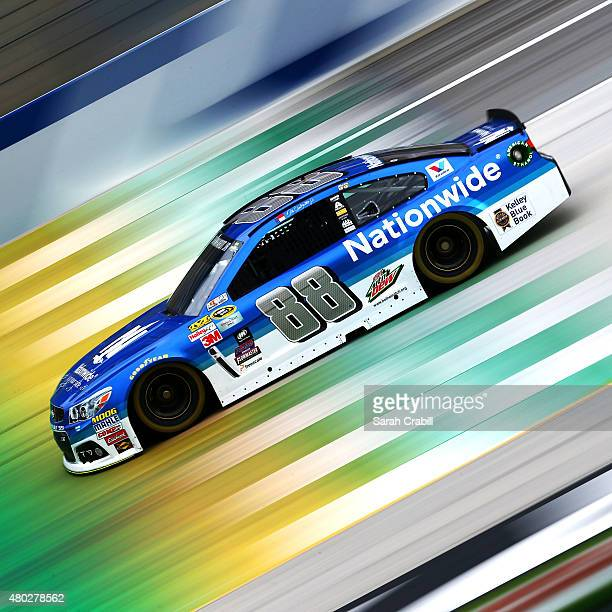 Dale Earnhardt Jr driver of the Nationwide Chevrolet practices for the NASCAR Sprint Cup Series Quaker State 400 Presented by Advance Auto Parts at...