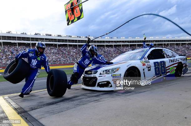 Dale Earnhardt Jr driver of the Nationwide Patriotic Chevrolet pits during the Monster Energy NASCAR Cup Series CocaCola 600 at Charlotte Motor...