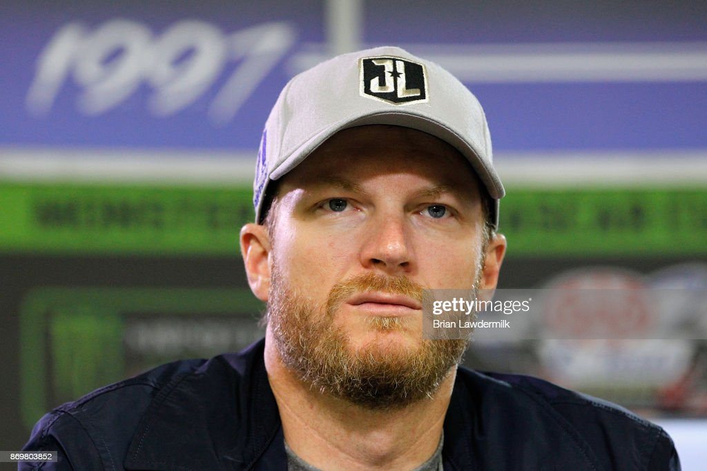 Dale Earnhardt Jr., driver of the #88 Nationwide/Justice League Chevrolet, speaks with the media during a press conference at Texas Motor Speedway on November 3, 2017 in Fort Worth, Texas.