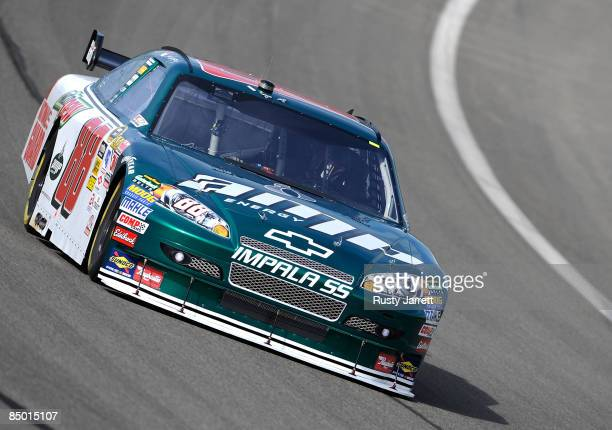Dale Earnhardt Jr., drives during practice for the NASCAR Sprint Cup Series Auto Club 500 at Auto Club Speedway on February 20, 2009 in Fontana,...
