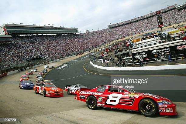 Dale Earnhardt Jr drives his Budweiser Chevrolet during the NASCAR Winston Cup Food City 500 at Bristol Motor Speedway on March 23 2003 in Bristol...