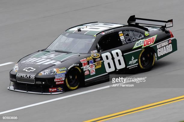 Dale Earnhardt Jr drives the AMP Energy Get on the 88/National Guard Chevrolet during practice for the NASCAR Sprint Cup Series AMP Energy 500 at...