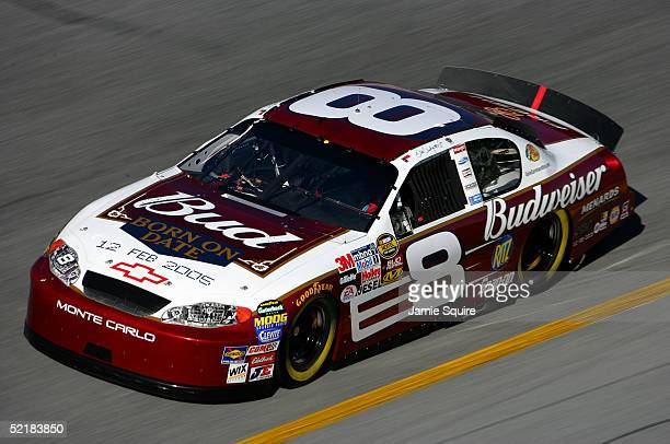 Dale Earnhardt Jr drives the Budweiser Chevrolet during practice for the Budweiser Shootout at the NASCAR Nextel Cup Daytona 500 on February 11 2005...