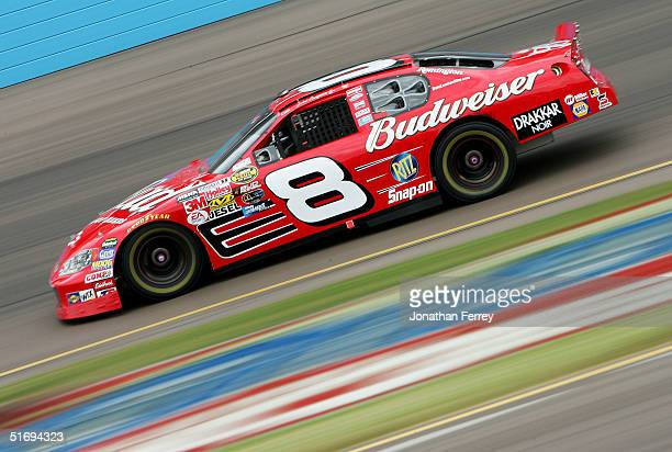 Dale Earnhardt Jr drives the Budweiser Chevrolet during the NASCAR Nextel Cup Checker Auto Parts 500 November 7 2004 at the Phoenix International...