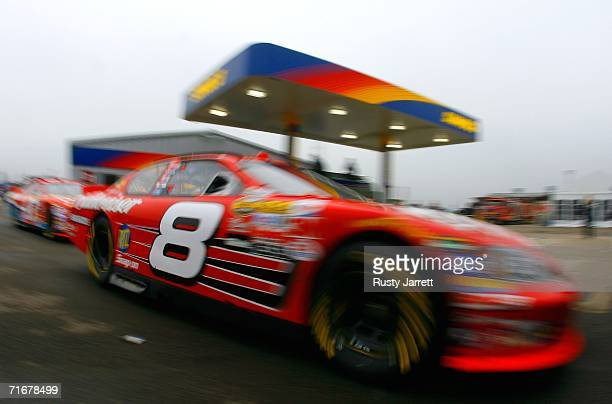 Dale Earnhardt Jr. Drives the Budweiser Chevrolet to the track after filling up with gas, during practice for the NASCAR Nextel Cup Series GFS...