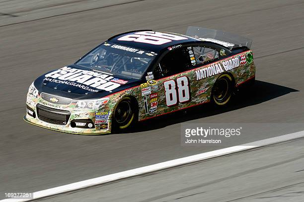 Dale Earnhardt Jr drives the National Guard Chevrolet during practice for the NASCAR Sprint Cup Series CocaCola 600 at Charlotte Motor Speedway on...